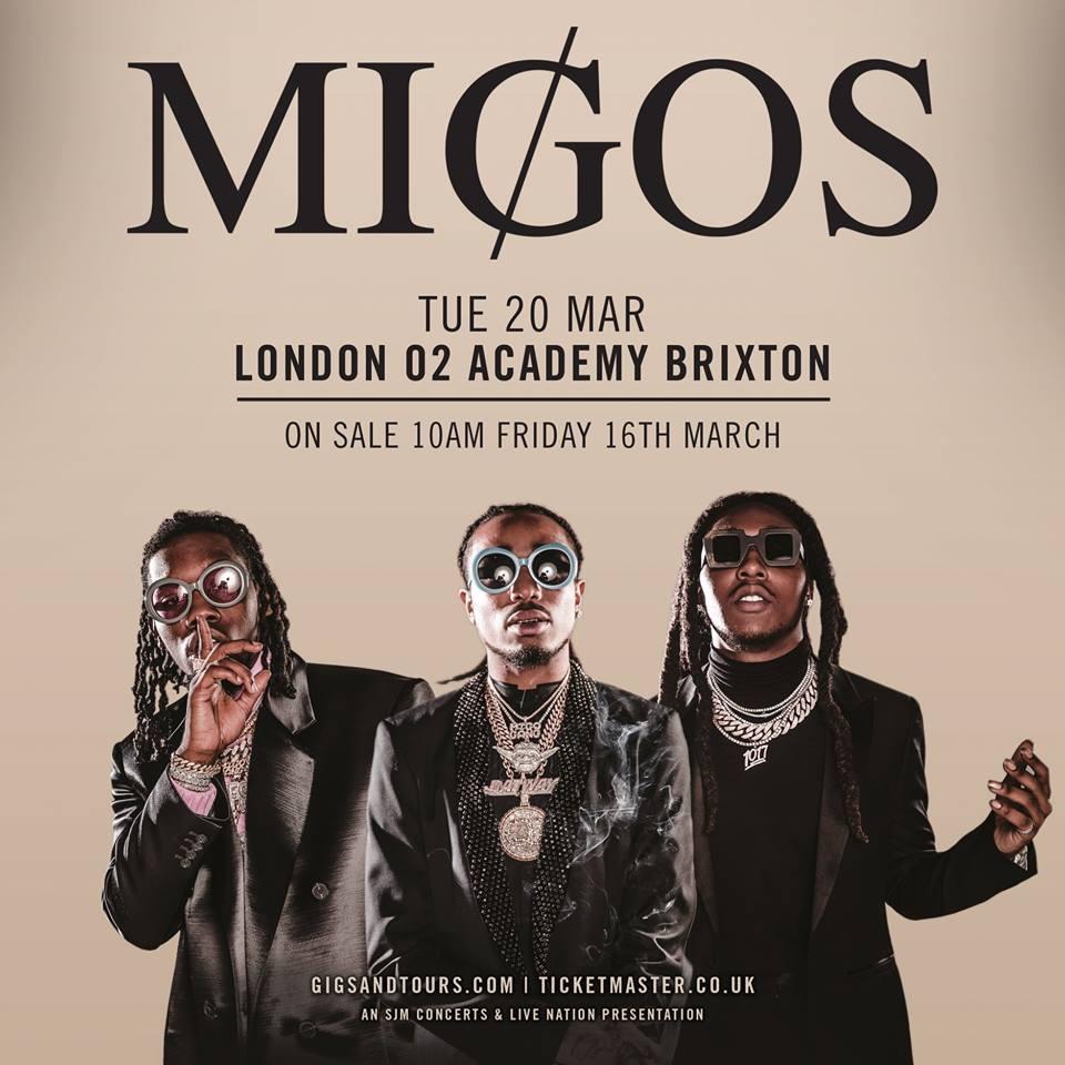 8b99e7a289de Migos announce surprise concert in London! - Guestlist