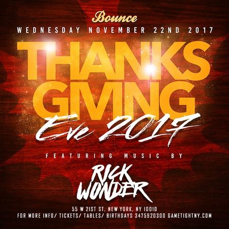 Thanksgiving Eve Bounce Sporting Club Party 2017