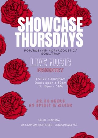 SHOWCASE THURSDAY's - LIVE MUSIC @ SO.UK CLAPHAM