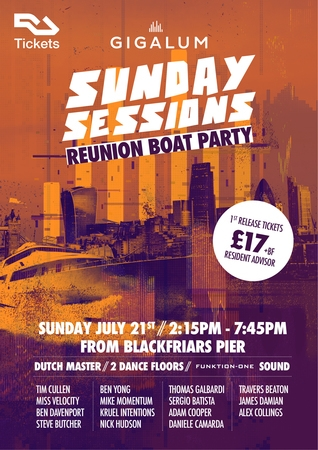 Gigalum Reunion Boat Party - Sunday Sessions - The Dutch Master