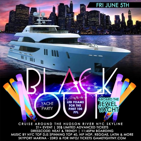 NYC Booze Cruise Glowsticks Yacht Party at Skyport Marina