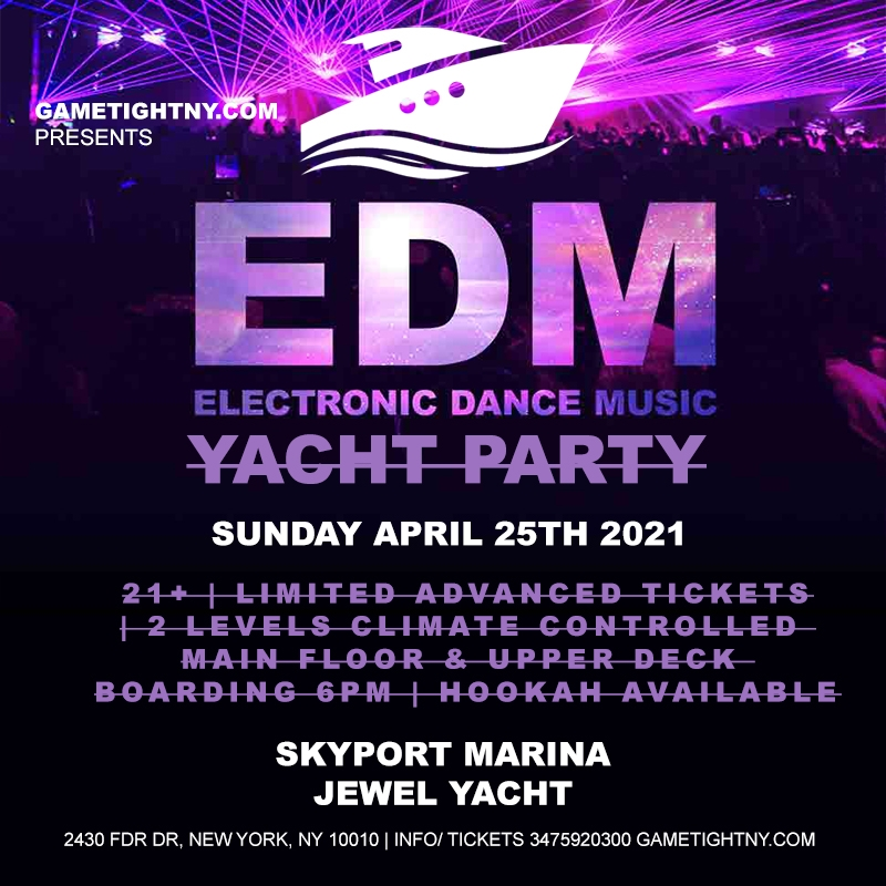 EDM Sunday Sunset Yacht Party Cruise at Skyport Marina Jewel Yacht 2021